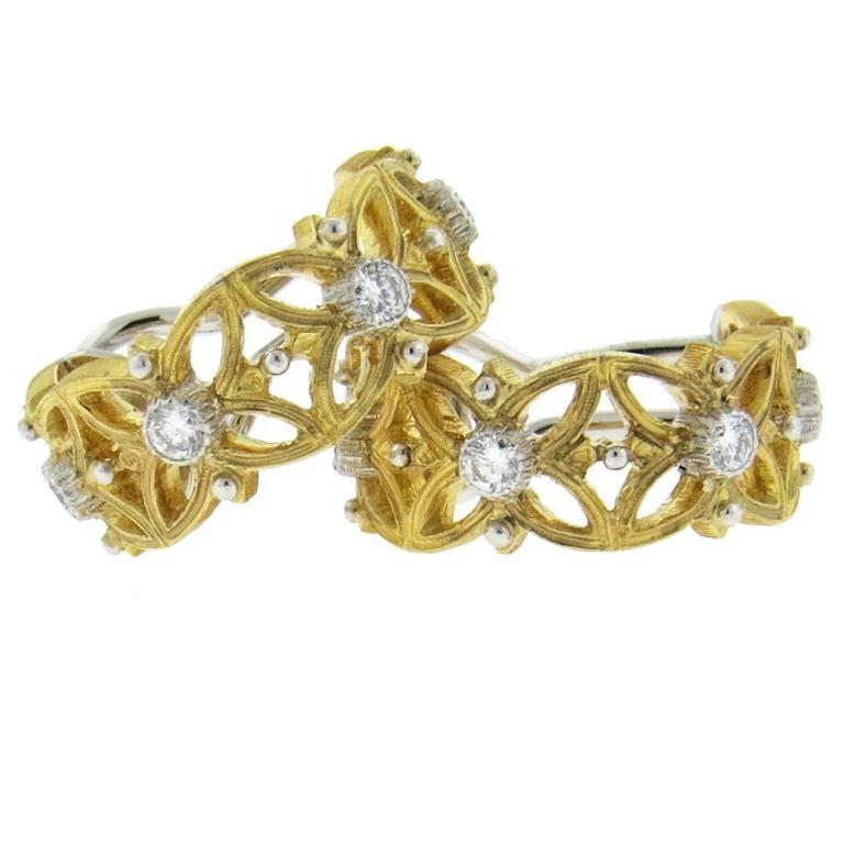 Buccellati Two Tone Gold Diamond Hoop Earrings