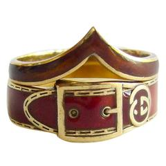 Gucci Enamel Gold Stacking Buckle Rings