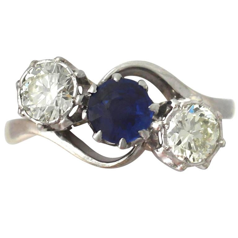 1950s Sapphire & Diamond Yellow Gold Trilogy Ring