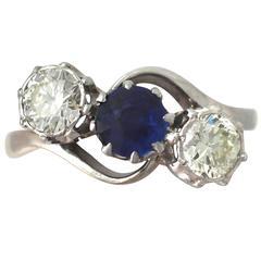 1950s Sapphire & Diamond Yellow Gold Trilogy Ring