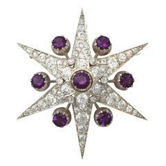 1880s 4.62 Carats Amethysts and 5.14 Carats Diamonds Gold Star Brooch
