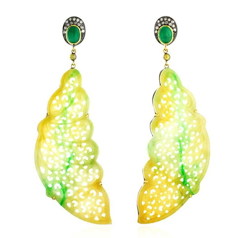 Jade Emerald Diamond Gold Feather Shape Earrings 1