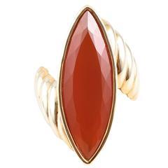 Vibrant Orange Fire Opal ring
