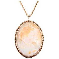 Gold Shell Cameo Pin Pendant on Chain