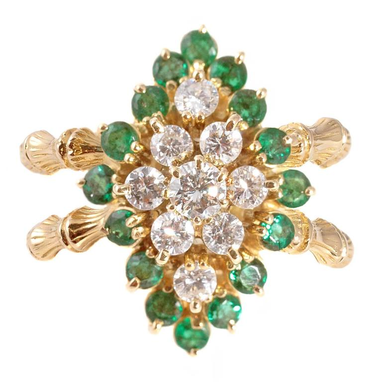 Emerald Diamond Gold Bamboo Style Ring For Sale