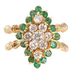 Emerald Diamond Gold Bamboo Style Ring