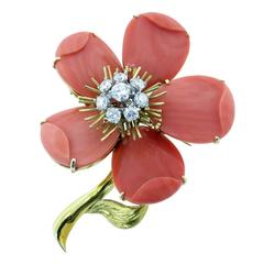 Lovely Carved Coral Diamond Gold Dogwood Flower Brooch