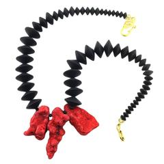 Natural Red Coral Chunks & Flat Black Onyx Necklace