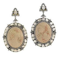 Beautiful Cameo Diamond Gold Earrings