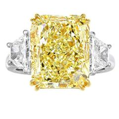 9.37 Carat Natural Yellow Diamond Platinum Three Stone Ring