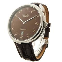 Hermes Stainless Steel Arceau Large Automatic Wristwatch