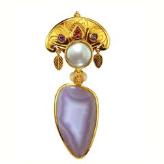 Crevoshay Handcrafted Sapphire Pearl Agate Moonstone Gold Pendant