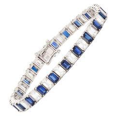Blue Sapphire Emerald Cut Diamond Gold Bracelet