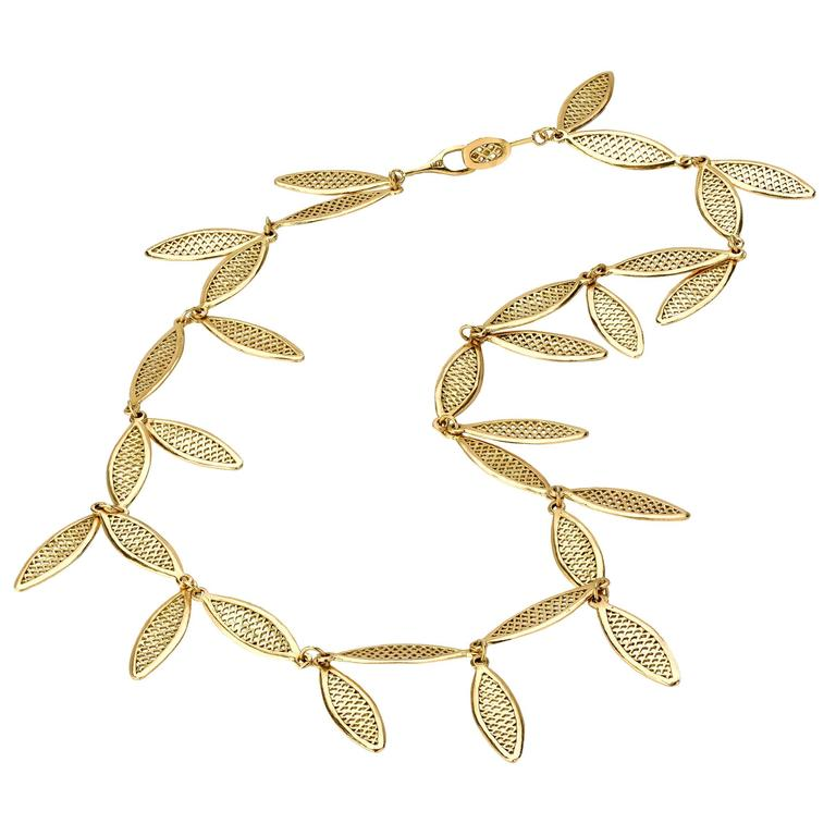 Ray Griffiths Gold Crownwork Leaf Necklace For Sale