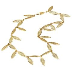 Ray Griffiths Gold Crownwork Leaf Necklace