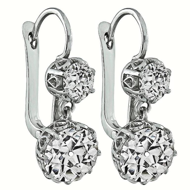 Magnificent Antique Diamond Platinum Earrings