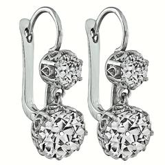 Magnificent Antique Diamond Platinum Earrings