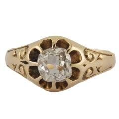 Belcher Set Antique Old Cut Diamond Cushion Gold Ring