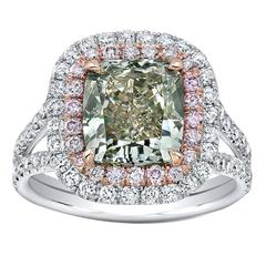 Exotic 3.06 Carat GIA Fancy Grey Greenish Yellow Diamond Two Color Gold Ring