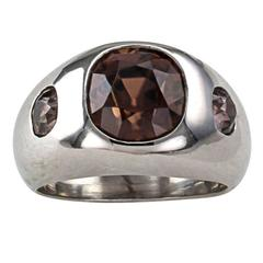 Pink Brown Natural Zircon and Brown Diamond Three-Stone Ring