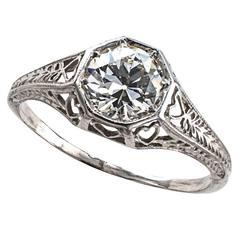 .84 Carat Art Deco Diamond Platinum Engagement Ring