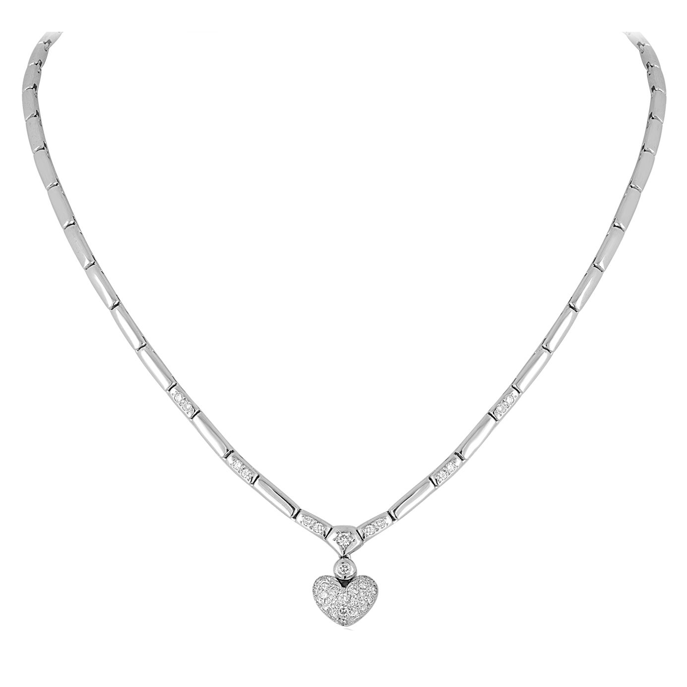 0.77 Carats Diamond Gold Heart Necklace