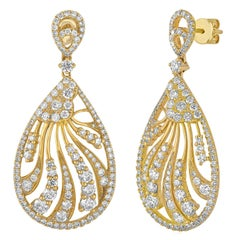 3.52 Carats Diamond Tear Drop Dangle Gold Earrings