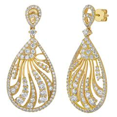 3.52 Carats Diamond Gold Tear Drop Dangle Earrings
