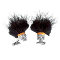 Deakin & Francis Sterling Silver Skull Cufflinks with Black Hair