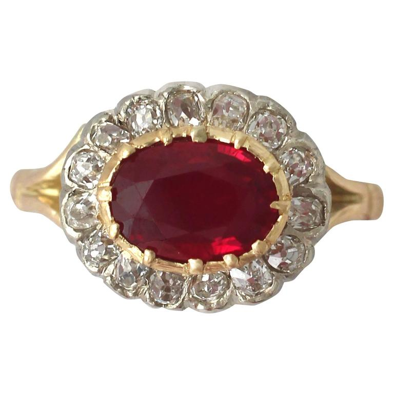 1.50Ct Ruby & 0.60Ct Diamond, 18k Yellow Gold Cluster Ring - Antique