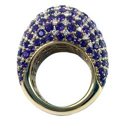 Purple Sapphire Diamond Gold Domed Cluster Ring