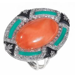 Coral Onyx Green Enamel Diamond Gold Ring