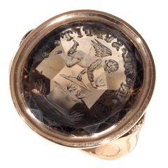 Antique Citrine Intaglio Eros Signet Ring