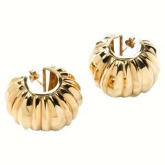 Yellow Gold Ribbed Stud Earrings