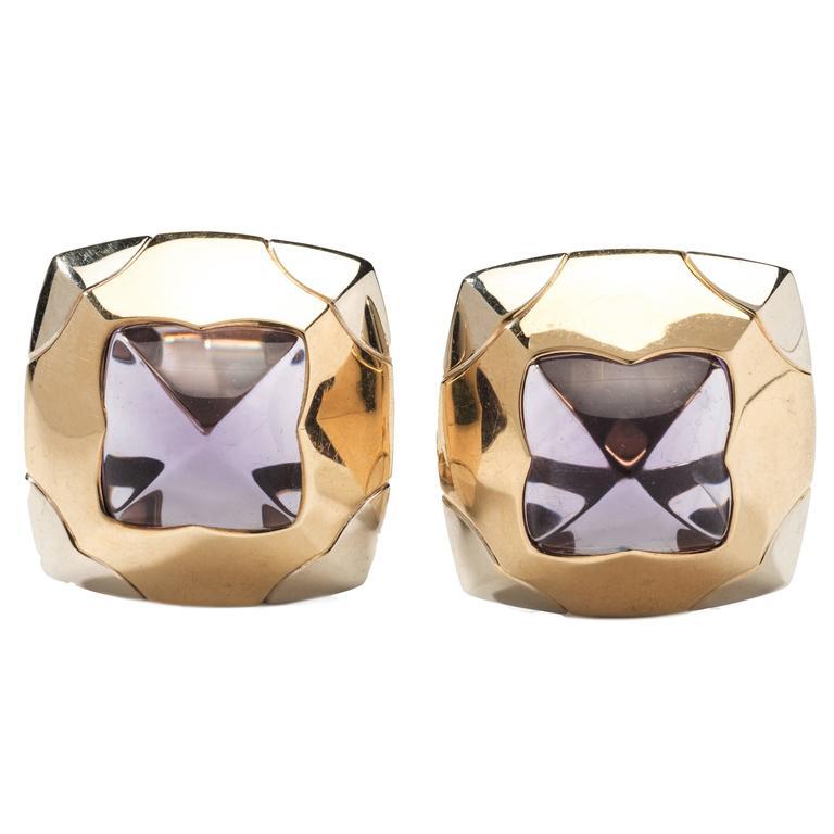 Bulgari Two Color Pyramid Amethyst Gold Ear Clips