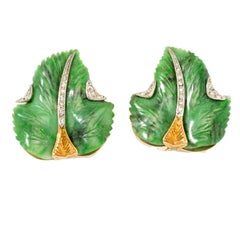 Carved Jade Diamond Gold Leaf Earrings