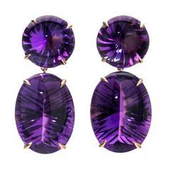Peter Suchy Natural Purple Amethyst Fantasy Cut Gold Dangle Earrings