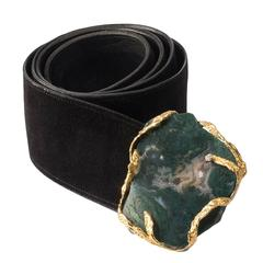 1972 Andrew Grima Moss Agate Diamond Gold Belt Buckle with Leather Belt