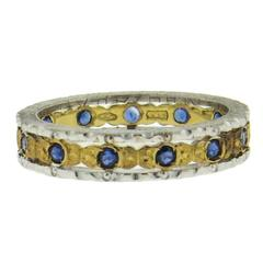 Buccellati Two Color Gold Sapphire Wedding Band Ring