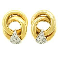 Diamond-Set Gold Knot Earrings