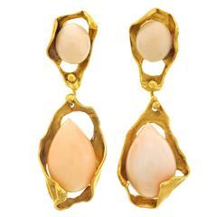 1960s Angel Skin Coral Gold Modernist Earrings