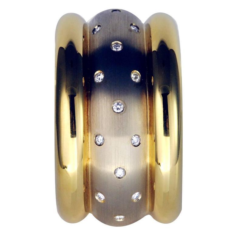 Claris a Diamonds White and Yellow Gold Cuff Bracelet