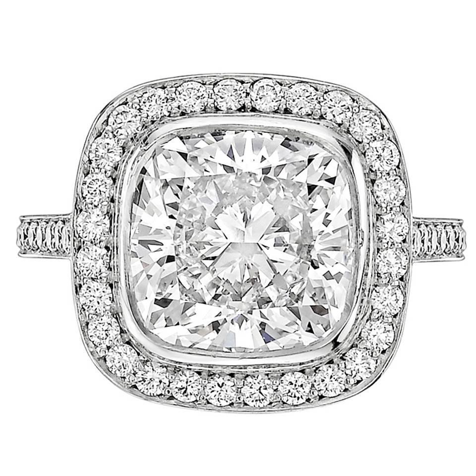 Betteridge 4 00 Carat Cushion Brilliant Cut Diamond Ring For Sale at 1stdibs