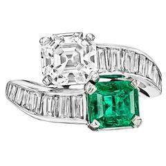 Black Starr & Frost Emerald Diamond Platinum Bypass Ring