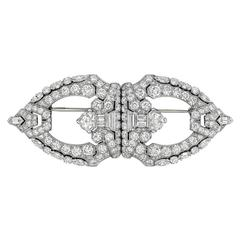 Raymond C. Yard ​Diamond Platinum Double Clip Brooch