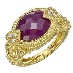 Judith Ripka Ruby Diamond Gold Dress Ring