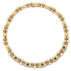 Pearl Emerald Diamond Gold Choker Necklace