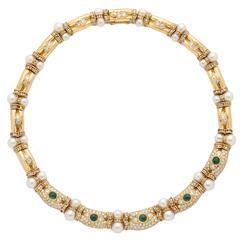Pearl Emerald Diamond Gold Choker Necklace