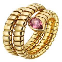 Bulgari Pink Tourmaline Gold Tubogas Ring