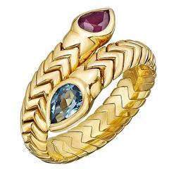 Bulgari Blue Topaz Ruby Gold Spiga Bypass Ring
